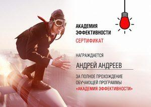 Андрей Андреев сертификат о прохождении программы Академия Эффективности Никиты Маклахова